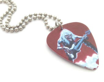 Iron Maiden Guitar Pick Necklace with Stainless Steel Ball Chain - music - Eddie