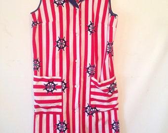 vintage 1970s dress red and white graphic print dress nautical print vintage dress 70s 1970s seventies shift sundress striped medium dress