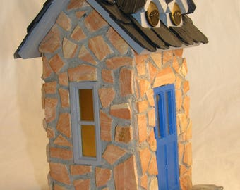 Fairy Cottage of stone, slate and brass