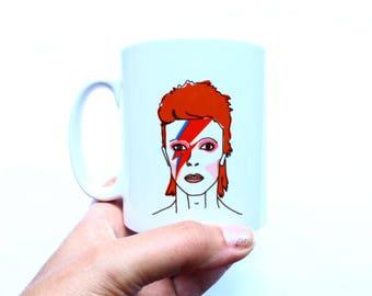 Bowie Mug Aladdin Sane Illustrated Design Gift For Him Or Her