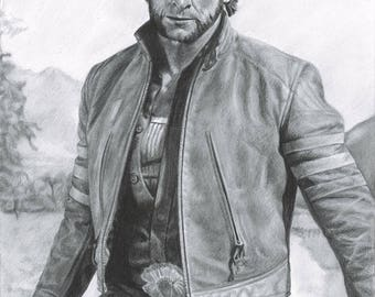 "Drawing Print of Hugh Jackman as Logan / The Wolverine in ""X-Men Origins: Wolverine"""