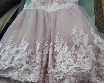 Plus size sissy baby doll role play prom unisex organza dress layers of net built in padded bra sweetheart Neckline uk size 22 usa size 18