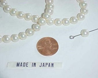 100 VINTAGE JAPANESE GLASS white pearl smooth round 7mm. beads l780