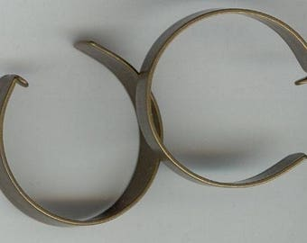 24 Vintage Brass Open End Loop 36mm Round Hoop Earring Component Finding T621