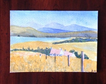 Hills Painting, Countryside, Landscape Painting, Lake, Watercolour Card