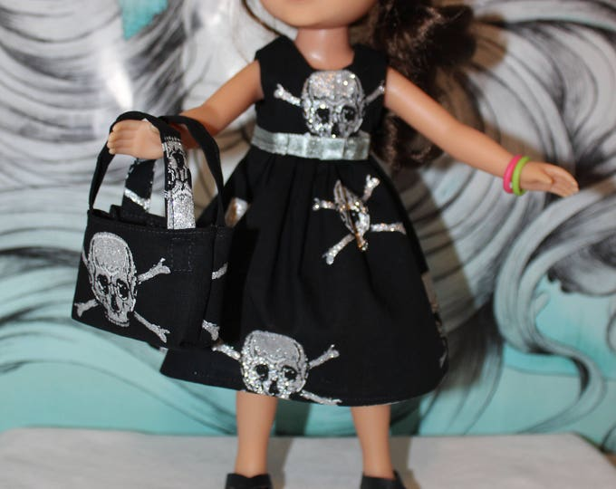 "Halloween Dress Made for the 14.5"" Dolls like American Girl, Wellie Wisher and Heart to Heart Skull Print Dress,Bag and Shoes, FREE SHIPPING"