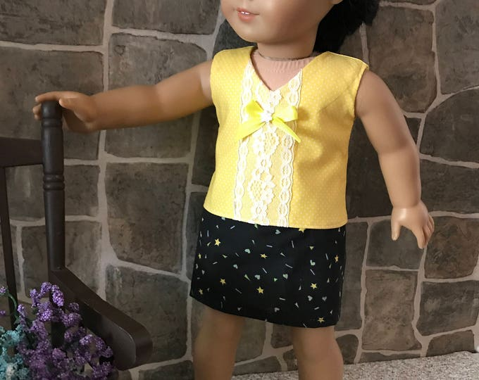 "End of Summer Sale!!! Yellow Blouse with Lace, Skirt To fit likes of AG and other 18"" dolls FREE SHIPPING"