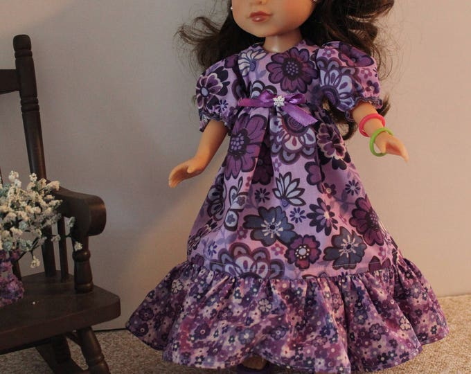 "Long Purple Flower Dress, Hair Bow and Shoes. Made for the 14.5"" Dolls like American Girl, Wellie Wisher and Heart to Heart FREE SHIPPING"