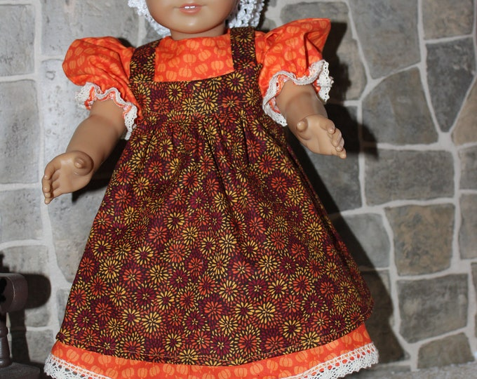 Yellow,Brown and Orange ,Print Dress with Bow,Orange Pinafore , Black Boots included ,Made for the inch dolls Like AG FREE SHIPPING