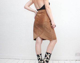 Vintage 70s Brown Suede Pencil Skirt