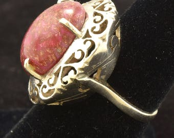 Large Vintage Ring Sterling Silver with Raspberry Glass & Gold Fleck Stone 1668