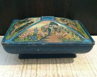 Lovely Antique Garden Tin Box, 1920s Confection Tin, Vintage Tin Box, Gardening Gift, Tapestry Basket Weave, Pedestal, Floral Flower