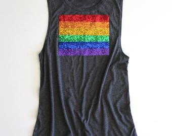 SEQUIN Rainbow Tank Top. Rainbow Pride Tank. Rainbow Baby Mommy Tank. Rainbow Shirt. Sequin Rainbow Patch Shirt. Rainbow Pride Shirt.Tumblr