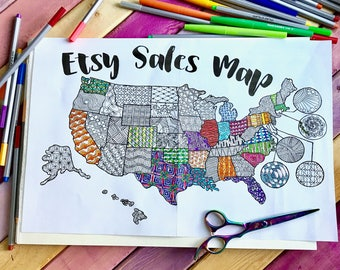 Printable Etsy Sales Map Sale Tracker Coloring Page Coloring Map Etsy