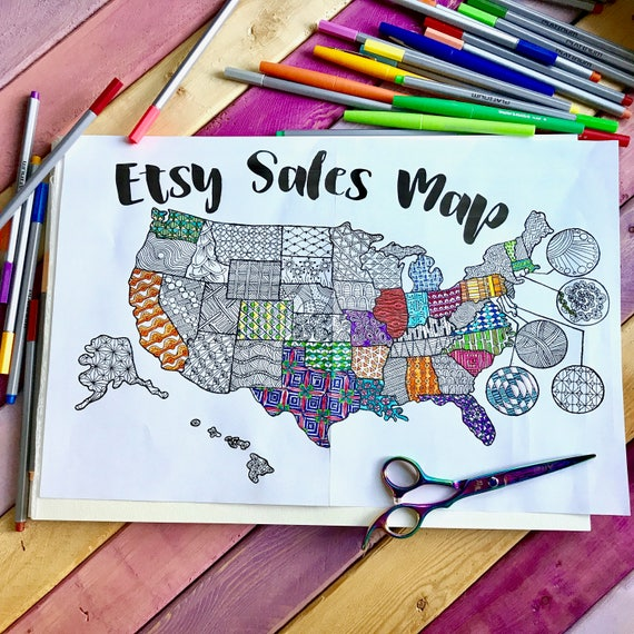 printable etsy sales map sale tracker coloring page coloring map etsy sales printable cha ching us map coloring page goal tracker