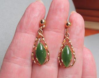 1960's Vintage Jade A & Z 12k Gold Filled Dangle Tear Drop Earrings