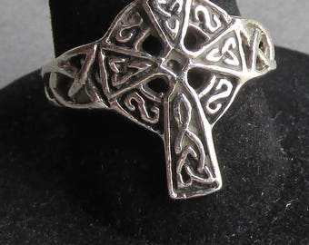 Vintage Sterling Silver Filigree Irish Scottish CELTIC Cross Ring, Size 7.5