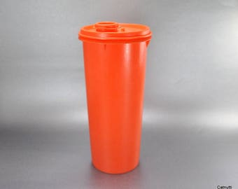 Vintage Orange Tupperware 36 Oz Slimline Container with Tupper Seal Orange Spout Lid
