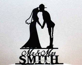 Personalized Wedding Cake Topper - RCMP officer and Bride Silhouette with Mr & Mrs name