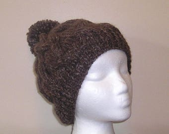 """Hand Knitted """"Cable Crush"""" Cabled Winter Hat With Pom Pom - Coffee Color - Tonal - Adult/Teen Size"""