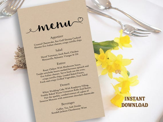 burlap wedding menu template diy menu card template editable