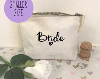 Bride cosmetic bag/bride makeup bag perfect for wedding makeup, bridesmaid gift or bridal party gift, also perfect for wedding favours