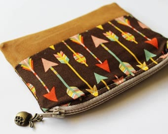 Boho Arrow Purse, Zipper Card Holder, Coin Purse, Change Pouch, coin pouch, Card Wallet, Zipper Pouch, Small purse, tobacco pouch, bohemian