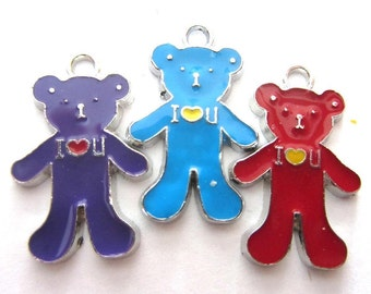 6 Pieces Enamel TEDDY BEAR Charm Pendants