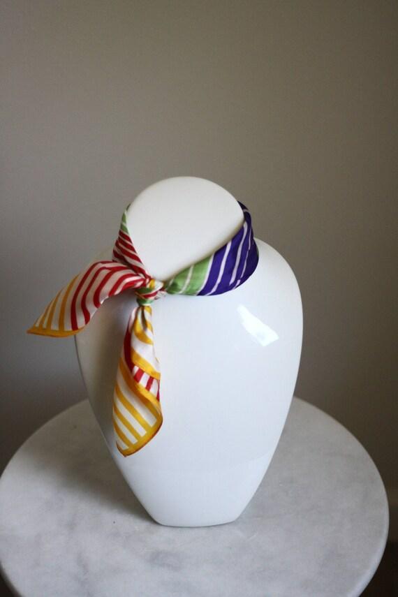 1980s striped scarf  // vintage neck scarf // vintage silk scarf