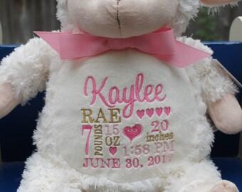 Personalized baby gift, Baby Lamb, Stuffed animal keepsake with machine embroidery, Baptism gift, Memorial gift,  Personalized keepsake
