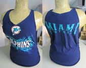 Miami Dolphins Refashioned Blue T-Shirt into V-Neck Tank Top with Side Woven Cut-Outs (*RESERVED*)