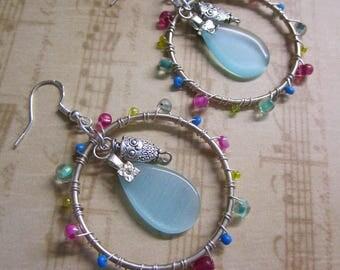 Silver Metal Owl Charm Multicolored Beaded Dangle Hoop Earrings