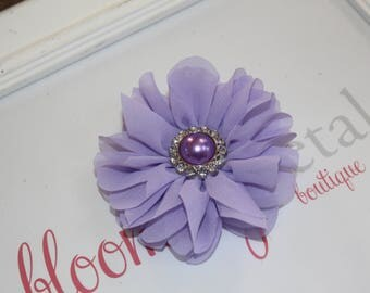Lavender Large Chiffon Flower Clip with Pearl Button