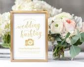 Gold Wedding Hashtag Sign // Printable Hashtag Sign // Editable Wedding Signs // Hashtag Wedding Signs Gold // Social Media Sign