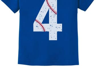 Baseball 4th Birthday Gift for Four Year old Toddler Kids T-Shirt