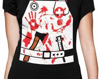 Bloody Nurse / Doctor Zombie Halloween Costume Women T-Shirt