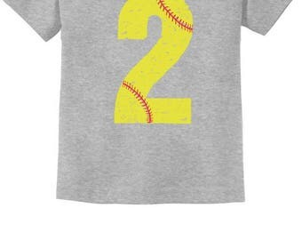 Softball 2nd Birthday Gift for Two Year old Toddler Kids T-Shirt