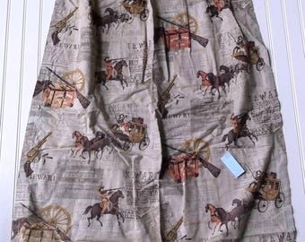 Cowboy curtains, curtains, vintage, Billy the Kid, pair, wild west, window panels, drapes, boys room, man cave decor