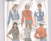 Western Wear Rodeo Cowgirl Shirt Blouse Pattern Simplicity 8850 Western Classics, Long or short sleeves, yoke, Misses Woman's Size 6 8 10