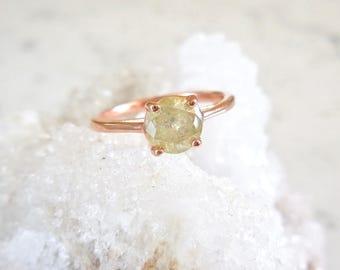 Custom Yellow Diamond Ring - Yellow Salt and Pepper Diamonds, Natural Diamond, Round Brilliant, 14k Gold, Conflict Free, Modern Engagement