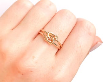 Gold Knot Ring, Thick Double Knot Ring, Love Knot Ring, Promise Ring, Friendship Ring, Gold Jewelry