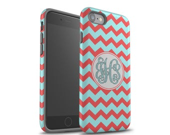 iPhone 7 Case, iPhone 8 Case, Monogram, Galaxy S8 Plus Case, iPhone 7 Plus Case, Samsung Galaxy Case, Galaxy S7, Coral Turquoise Chevrons