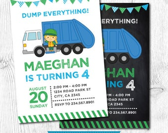 Trash Truck Invitation, Garbage Invitation, Recycling Birthday party, Garbage truck invite, Girl Invitation, DIGITAL, 2 Options