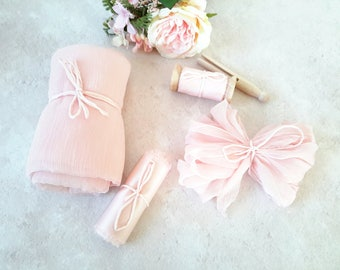 Blush pink silk ribbon - hand dyed silk chiffon fabric - dusty pink crinkle chiffon