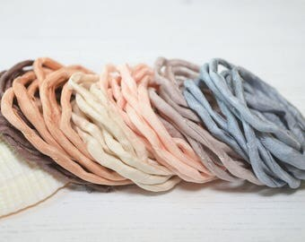 Hand dyed silk cord | mixed colors | beige brown grey | silk strings