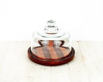 Genuine Teak Plate | Vintage Cheese Dome Cloche | Vintage Christmas Present