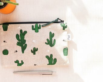 Cactus Zipper Bag, Pencil Pouch Case, Western Passport Wallet