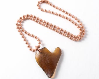 Rhode Island Brown Sea Glass Heart on a Thick Surfer Style Shiny Copper 4MM Ball Chain 16""