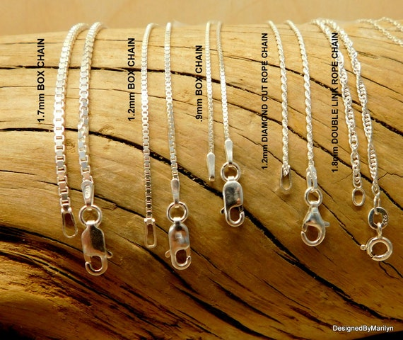 Sterling silver chain, long chain, short chain, necklace replacement chain, chain styles, box chain