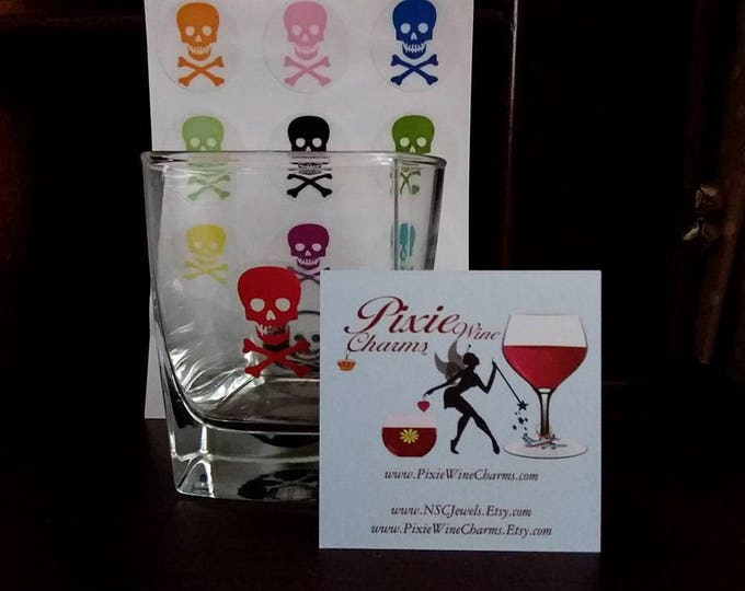 Pick Your Poison Halloween Wine Glass Decals - 1 Inch Round - Glass Not included, 12 Per Pack